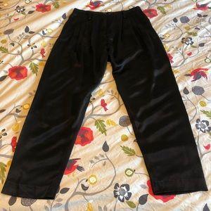 DRIES VAN NOTEN | Black satin pleated vintage pant
